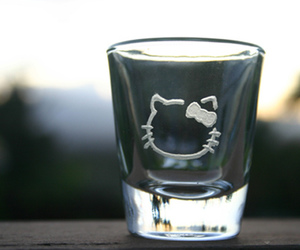 Shots, hello kitty, and shot glass image