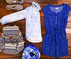 blue, outfit, and bag image