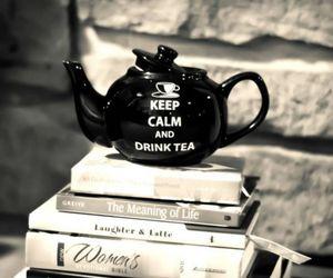 tea, keep calm, and book image