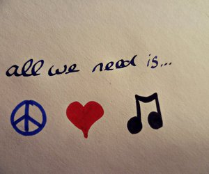 music, peace, and text image