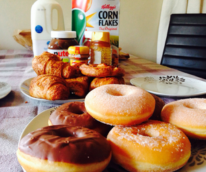 donuts, breakfast, and chocolate image