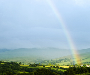 countryside, landscape, and rainbow image