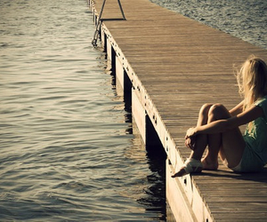 girl, water, and alone image