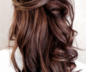 brunette, hair, and curls image