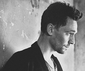 tom hiddleston, loki, and black and white image
