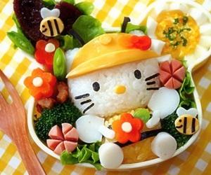 food, hello kitty, and bento image