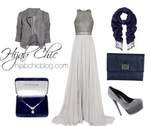 dress, silver, and hijab fashion image