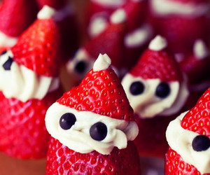strawberry, food, and christmas image