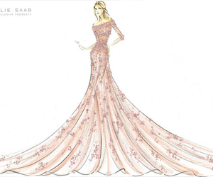 dress, elie saab, and drawing image