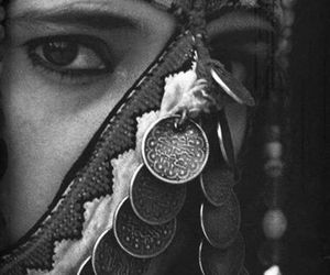 black and white, gypsy, and jewelry image