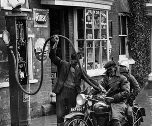 1930s, black and white, and gas station image