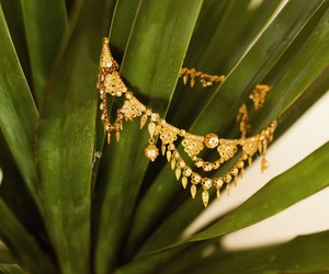 gold, green, and jewellery image
