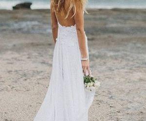 dress, beach, and wedding image