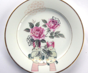 bunnies, floral, and roses image