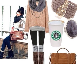 starbucks, outfit, and winter image