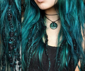 blue, dreads, and green image