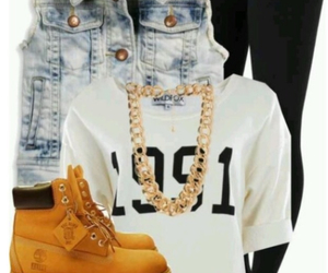 fashion, timberland, and outfit image