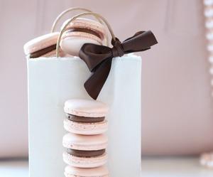 food, chocolate, and macarons image