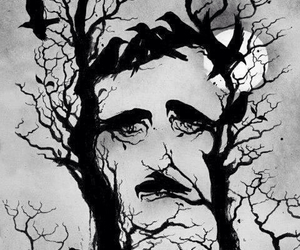 edgar allan poe and black and white image