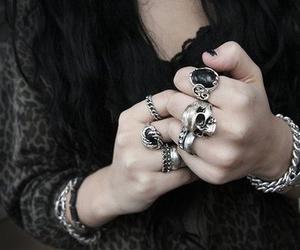 rings, skull, and black image