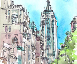 art, new york, and sketch image