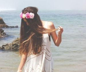 girl, flowers, and beach image