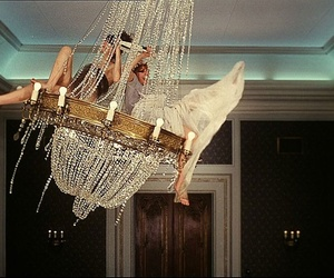 girl, chandelier, and fun image