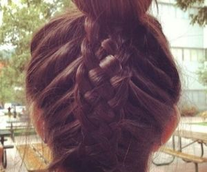 braid, brunette, and casual image
