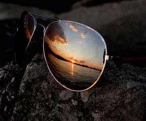 sunglasses, sunset, and glasses image