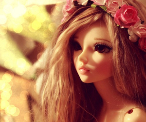 beautiful, flowers, and doll image