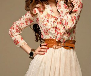 dress, floral, and cute image