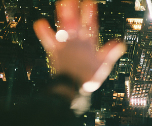 city, hand, and light image