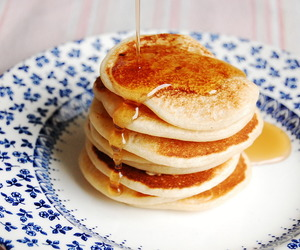 food, pancakes, and honey image
