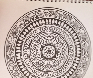 black and white, hippie, and mandalas image