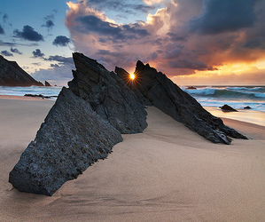 beach, sunset, and rock image