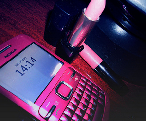 pink, lipstick, and nokia image