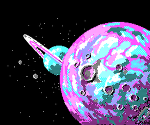 space, pixel, and planet image