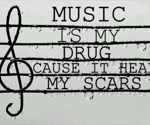 music, scars, and drug image