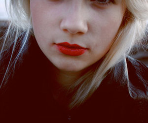 girl, blonde, and red image