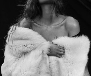 black and white, fur, and girl image