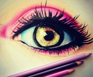 eye, drawing, and pink image