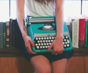 blue, girl, and books image