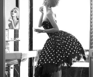 dress, black and white, and vintage image
