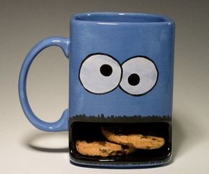 cookie monster, cup, and cookie image
