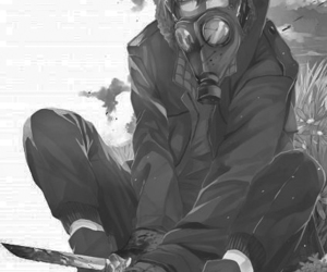 anime, boy, and gas mask image