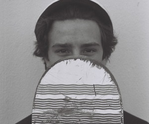boy, black and white, and skate image