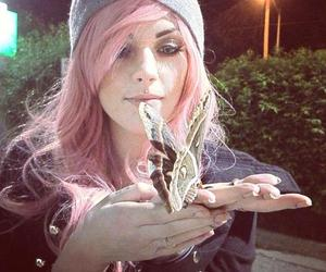 beanie, butterfly, and colorful hair image
