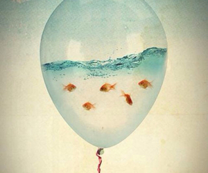 art, balloon, and water image