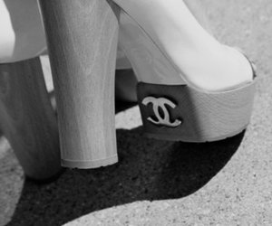 blackandwhite, shoes, and chanel image