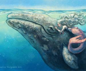 drawing, mermaid, and art image